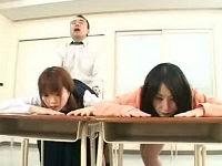三者面談中に亭主の目前で嫁と娘を順番に無許可で犯すヘンタイ教師