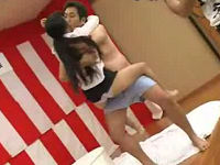 忘年会でパンツ相撲に負けた女子社員たちがすけべ男達にベロチュウされまくる