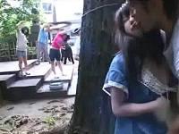 早朝ラ○オ体操に来ていた女子を神社裏で強引に犯しまくる鬼畜男