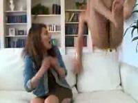 人妻の横に全裸男が飛び込み驚いた隙に前戯なしでハメて喘ぎまくらせる