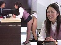 超ミニスカでパンツ見えているのに笑顔で接客中の受付お姉さんのマ○コにいたずらしてハメまくる
