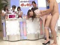 クイズ番組で新人女子アナがパンツずり下げヒント出し発情した全裸男に生乳揉まれセックスしまくる