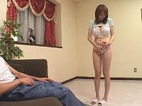 夫の留守中にストリップさせられ犯される巨乳若妻