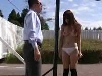 美乳お姉さんを強制的に野外で服を脱がせ全裸にしてハメまくる
