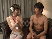 美人女子社員が会社の指令でAV男優さんにハメられインタビューしながら喘ぎまくる
