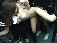 バスに乗り込んできたOLを取り囲み全裸に剥き強姦しまくり裸のまま外に投げ出す鬼畜男集団