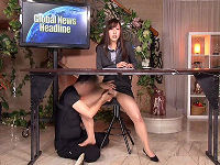 むっちり太もも美人女子アナがニュースを読んでいる最中にマ○コいじられトロけた所をハメられまくる