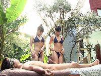 ビキニ姿の巨乳エステティシャンのマ○コに常にチ○コを挿れたままマッサージしてもらえる極上メンズエステ