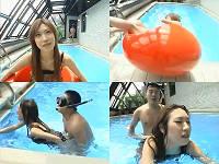プールに引きずり込まれ即ハメされた後ドボーンと落とされるお姉さん